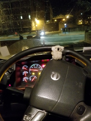 Roger driving the truck.